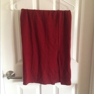 Burgundy deep red cotton skirt pencil stretchy s